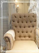 linnen/jute beklede stoel