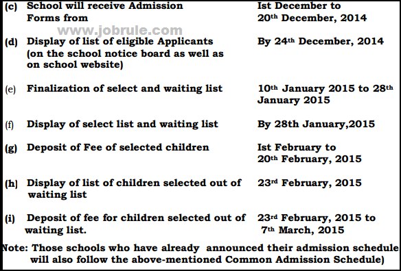 Chandigarh-CHD Education Department Common Admission Schedule 2015-2016