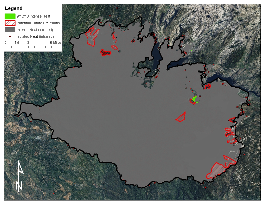 figure 1 rim fire operations map for 9 12 2013 showing modis satellite heat detections for the past 12 hours from 08 45 9 12 2013 orange