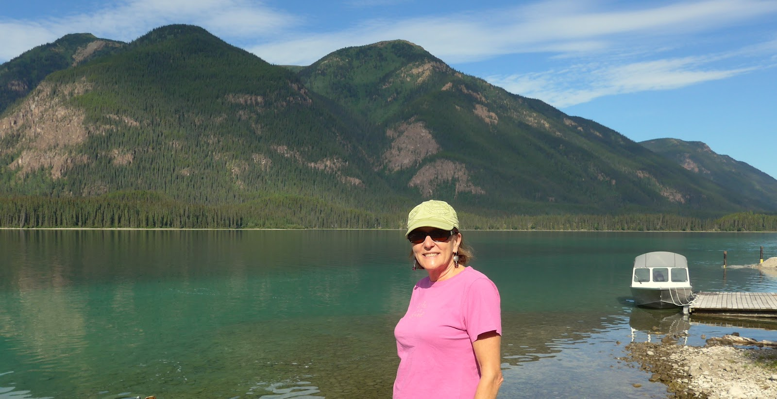 Liz by the shore of Muncho Lake