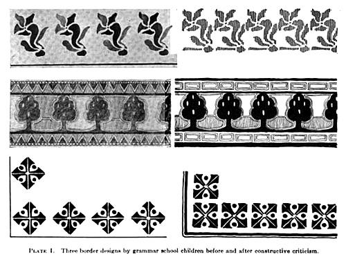 Three border designs by grammar school children before and after constructive criticism
