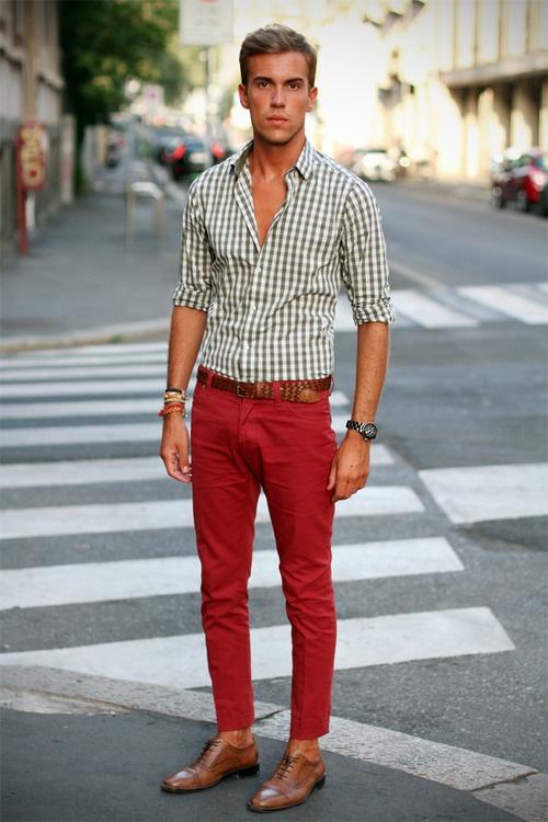 Mens Red Gingham Dress Shirt
