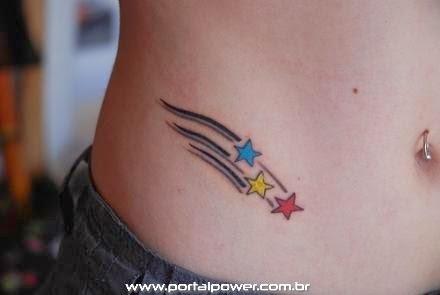 Art Tattoo feminina virilha estrelas cadente