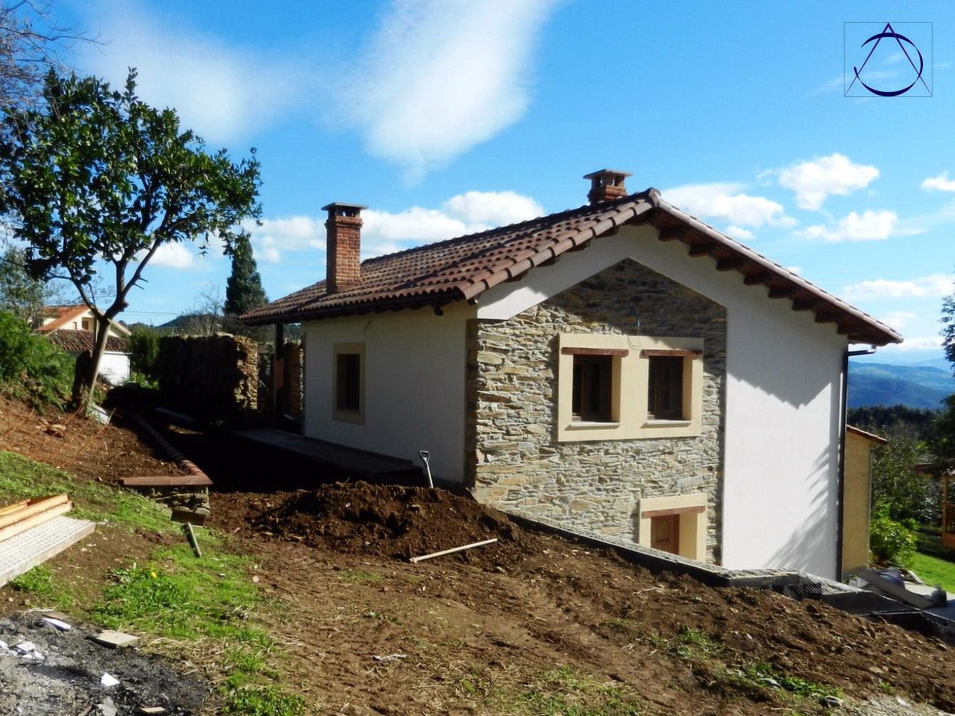 Ac arquitectos casa de madera y piedra en asturias - Casas piedra y madera ...