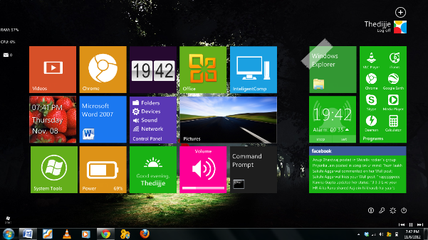 Windows 8 UI look on Windows 7: Intelligent Computing