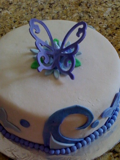 easter cakes with fondant. Easter Cake: Purple Butterfly