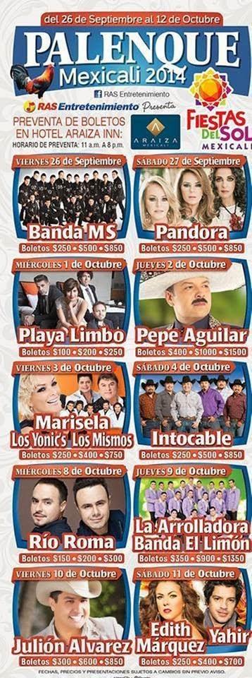 Programa palenque Fiestas del Sol 2014 mexicali
