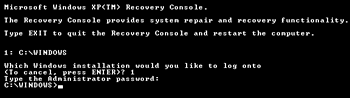 mengakses windows xp recovery console