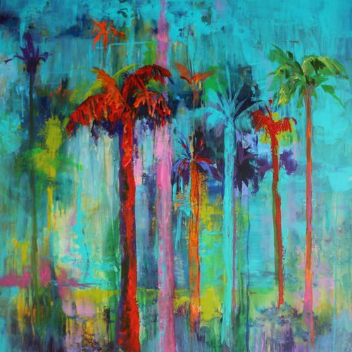 Amy whitehouse paintings miami heat landscape of palm for Painting palm trees