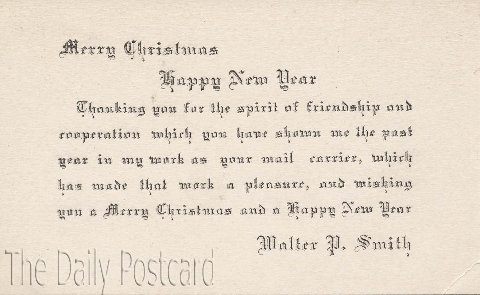 The Daily Postcard Happy New Year From Walter P Smith