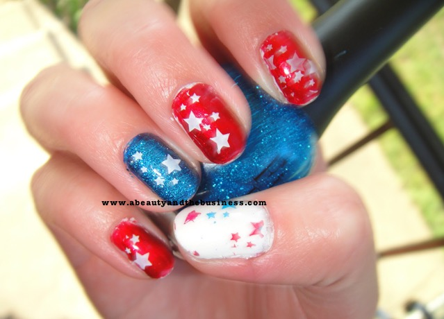 4th of july nails, red white blue nails, patriotic nails, star nails, blue nails, Julep Katie, Insta-Dri quick brick, Finger paints Laugh my art off
