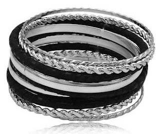 pulsera negro plata