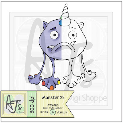 Monster 23 Black/White and Color Digital Stamp