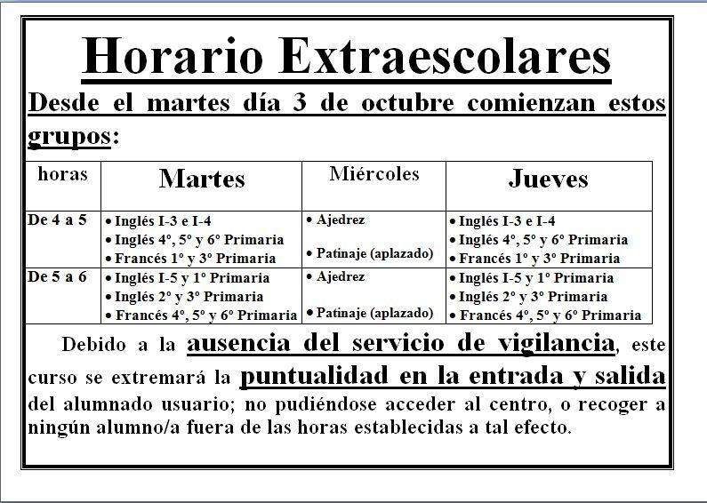 HORARIO DE ACTIVIDADES EXTRAESCOLARES 2017/18