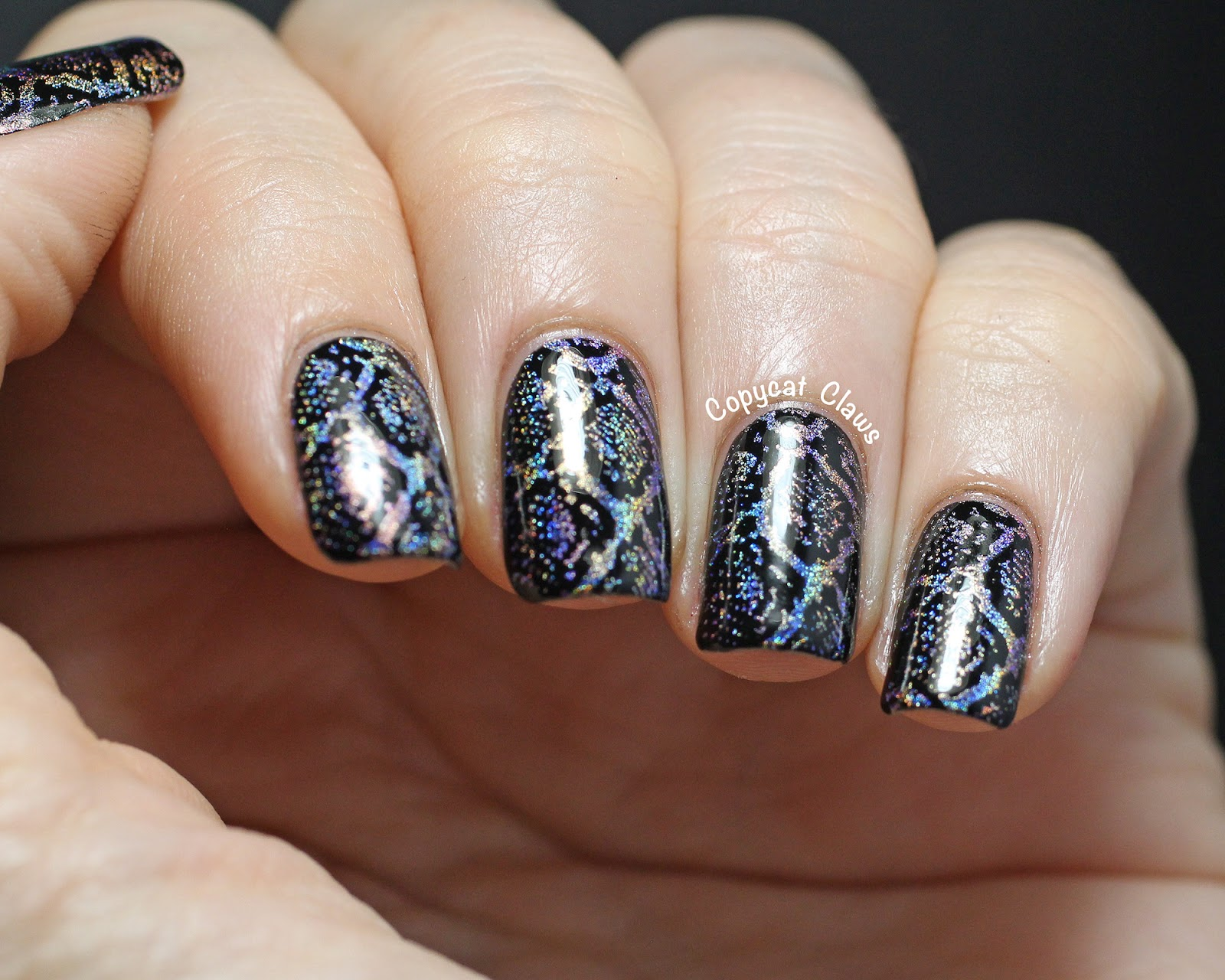 Copycat Claws: Holographic Snakeskin Nail Stamping