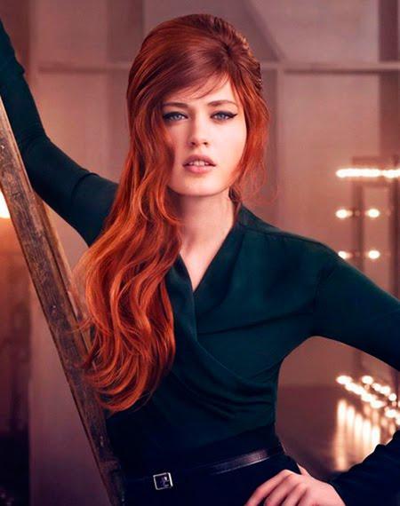 ретро прическа огнено червена коса
