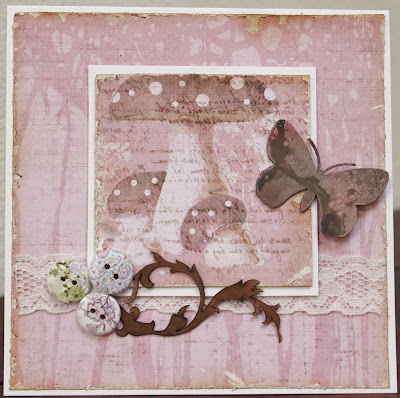 card, paddenstoel, vlinder, knoppen, button, lace, butterfly, chipboard, rose