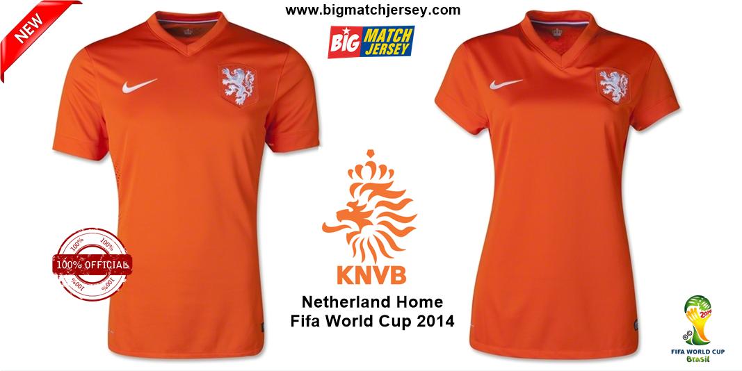 Jersey Bola Holland (Belanda) Home Couple Piala Dunia 2014