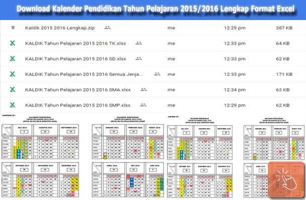 Kalender Pendidikan Tahun Pelajaran 2015/2016 Lengkap Format Excel