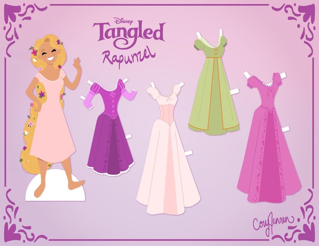 Princesas Disney: Muñeca de papel recortable de Rapunzel
