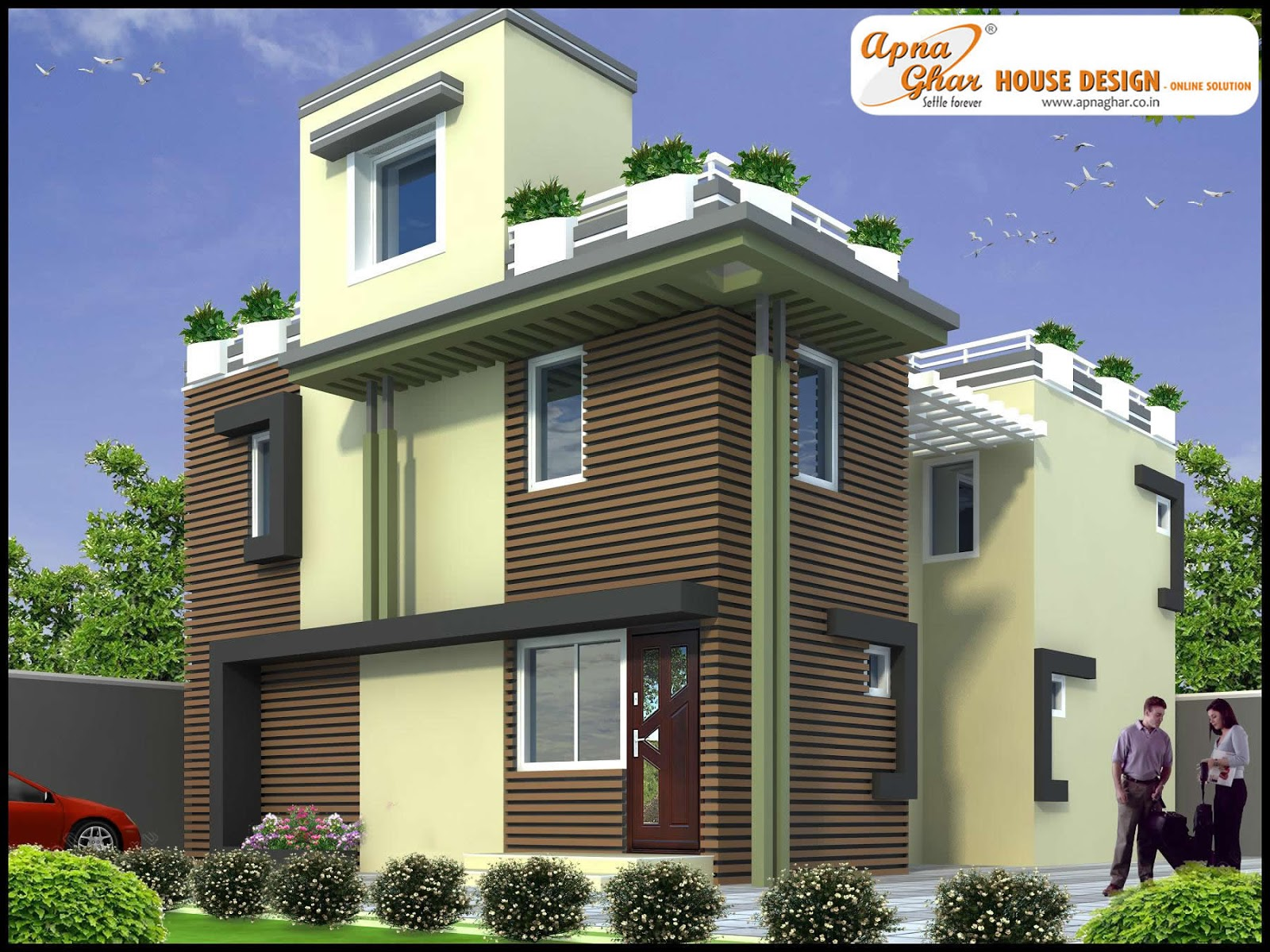 3 Bedrooms Duplex House Design in