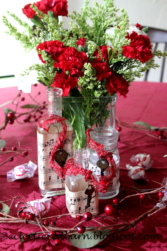 Eclectic Red Barn: Old bottles decorated for Christmas