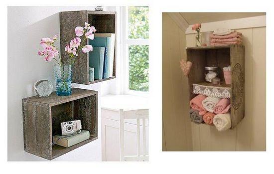 Só Fazendo Arte Idéias com caixote de feira -> Banheiro Decorado Com Material Reciclado