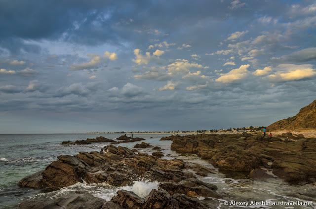 Rock slabs covering the beach at Marino coast line
