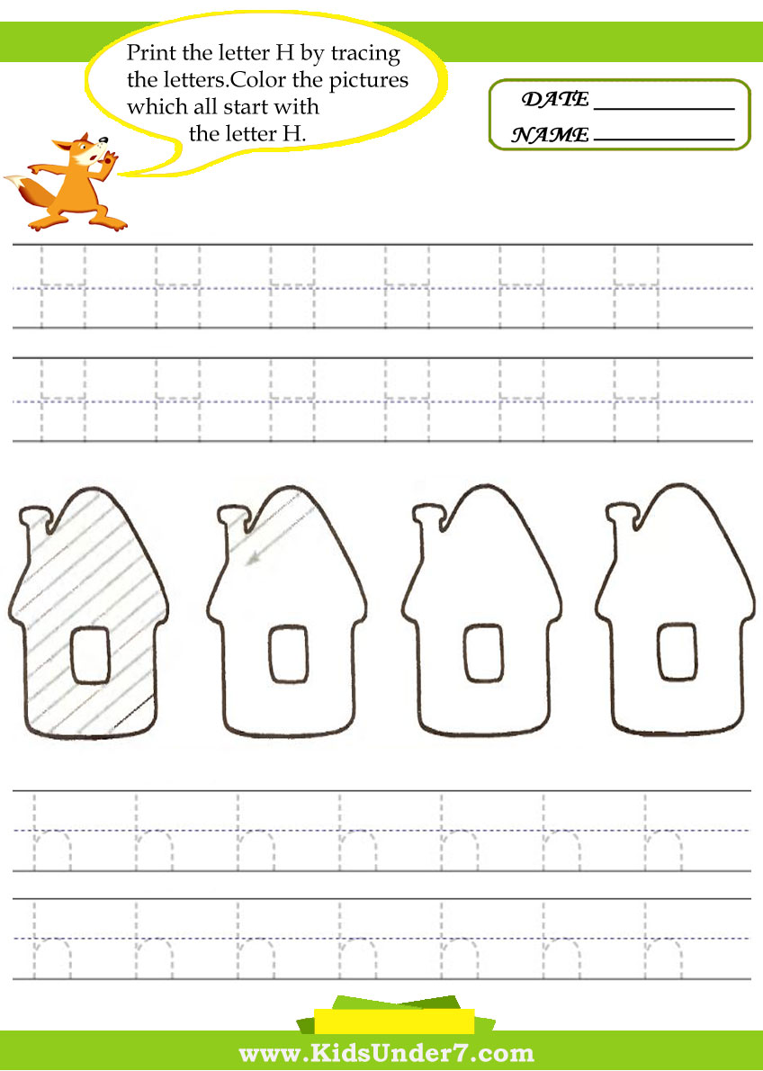 Kids Under 7: Alphabet worksheets.Trace and Print Letter H