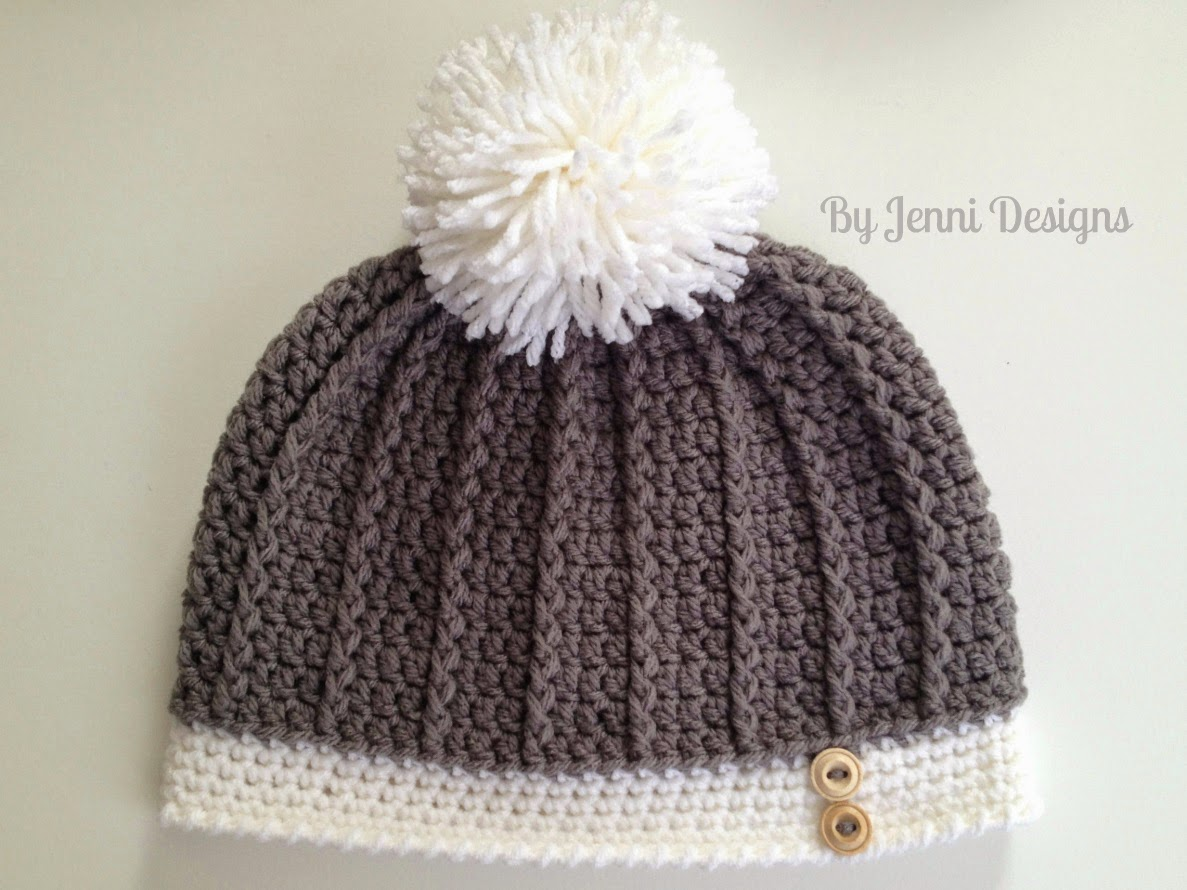 By Jenni Designs: Free Crochet Pattern: Womens Ribbed Hat