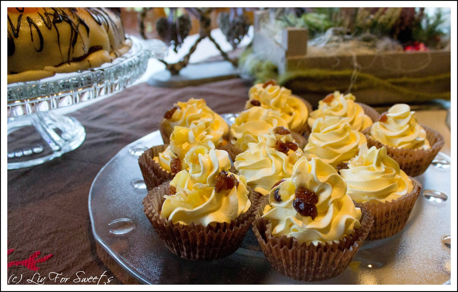 Bratapfel-Cupcakes, Rosinen, Zimt, Mandeln, Rum, Rama Cremefine, Vanilla, Rezept, Thermomix, Winter