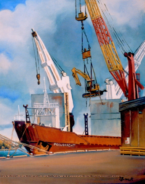 plein air oil painting of  the Hungry Mile wharf at East Darling Harbour, now Barangaroo and Millers Point of the cargo ship the 'Poolgracht' by artist Jane Bennett