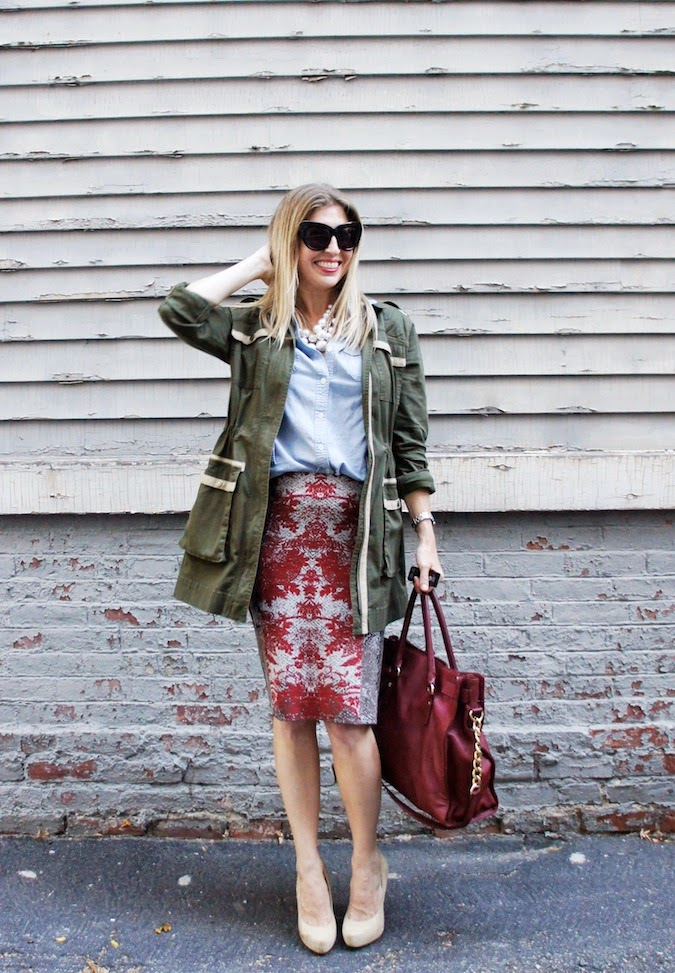 NIC+ZOE foliage faint skirt, chambray, CAbi army jacket