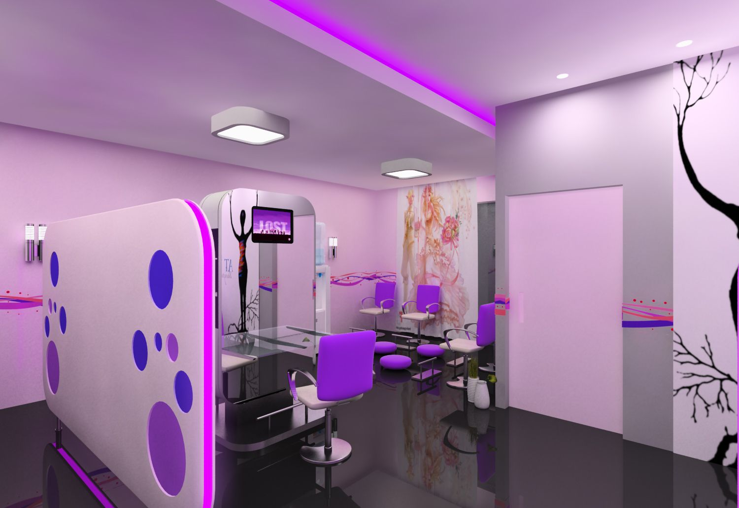 Ladies Salon on Pink Beauty Salon Interior Design