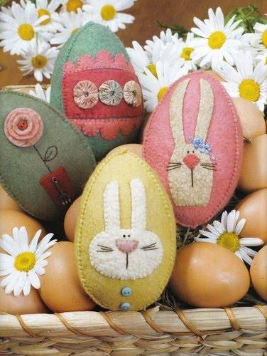 ovos%2Bp%25C3%25A1scoa%2Bfeltro Ideias para decoração de páscoa