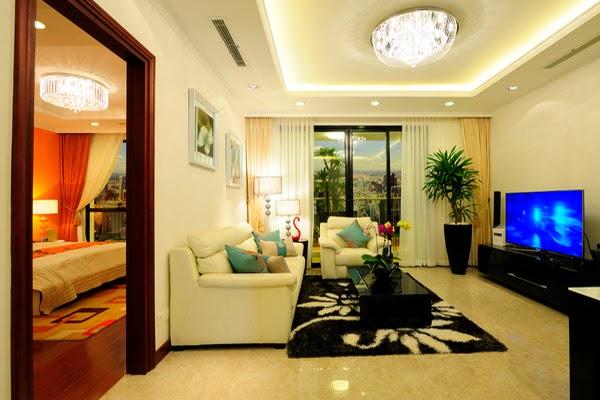 Thiết kế nội thất phòng khách chung cư Hòa Bình Green City