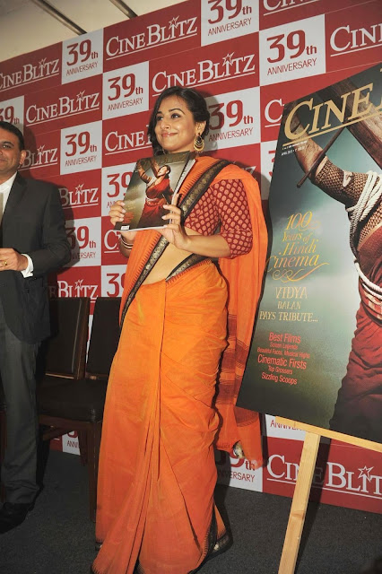 Bollywood Actress Vidya Balan Latest Saree Photos at Launch of Cine Blitz Magazine April 2013 Issue