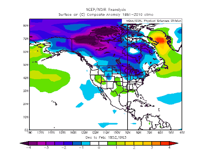 temperature anomalies for these two years show a chilly north