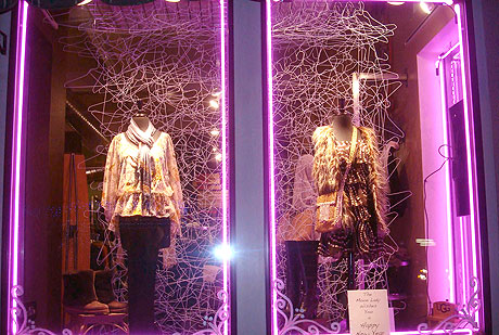 dress hanger themed window display