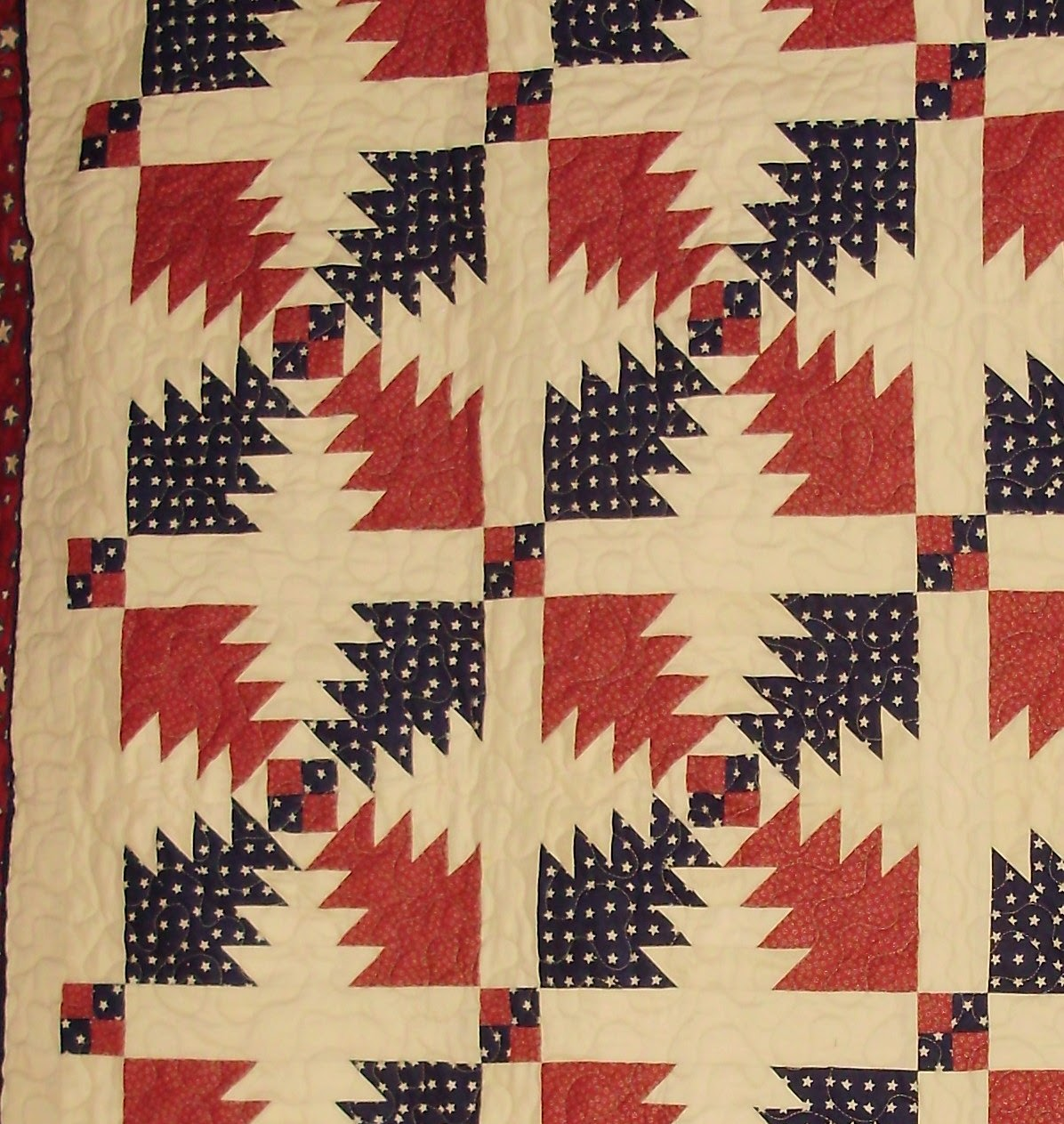 Patriotic Quilt, Red, White and Blue Quilt, Sashings and Cornerstones, Pieced Cornerstones, Pineapple Quilt