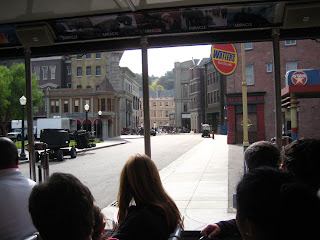 The outdoor sets of the Universal Back Lot, rebuilt after the 2008 fire. A movie is being filmed in the middle.
