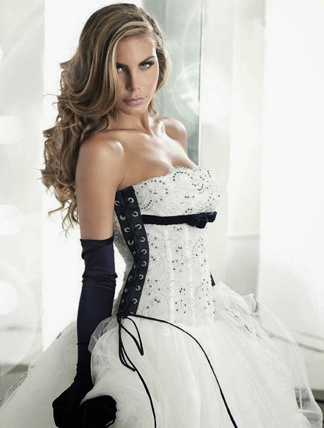 Sweet Strapless Corset Black And White Wedding Dress