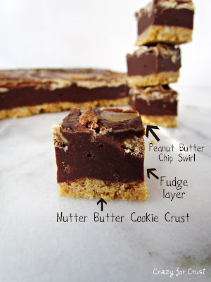 chocolate fudge with a peanut butter swirl with words on photo