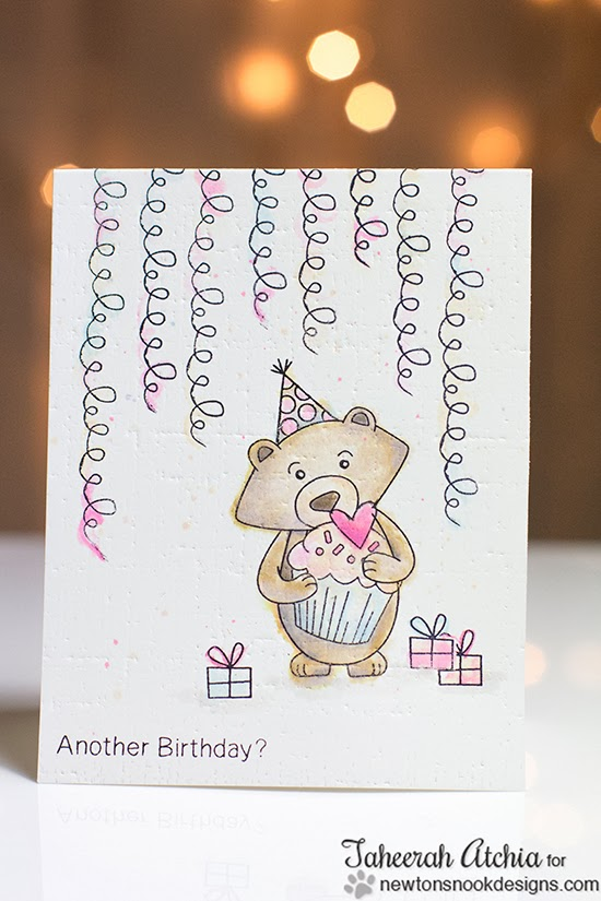 Winston's Birthday Bear Card by Taheerah Atchia for Newton's Nook Designs