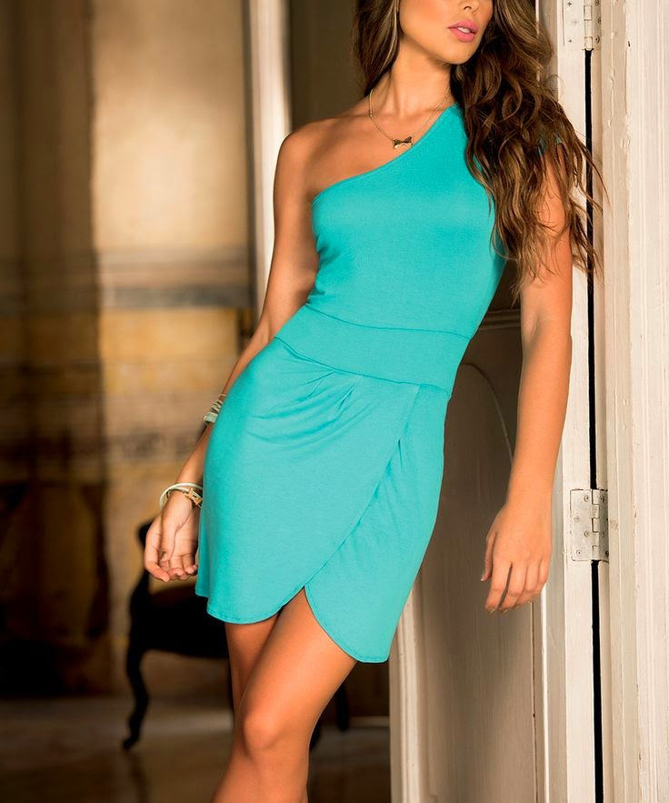 Turquoise Back-Cutout Asymmetrical Dress