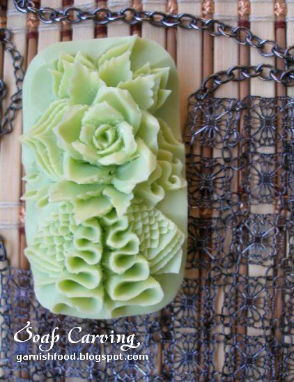 soap carving flower and waves