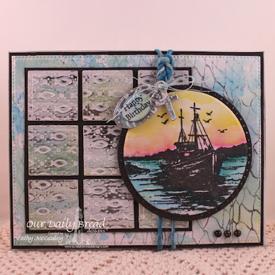 Our Daily Bread Designs, Created by Cathy McCauley, Waves on the Sea, Fishing Net Background, Mini Tag Sentiments, Faithful Fish Pattern Die, Mini Tag die