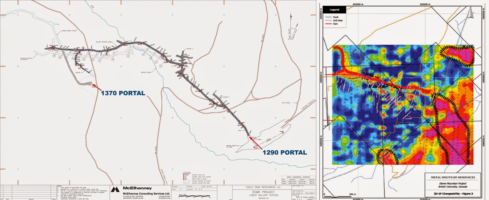 Drill hole Map & 3D IP Chargability Map of Dome Mine