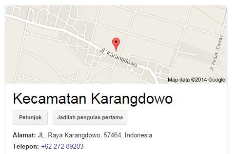 Daftar Nama Kelurahan/Desa di Kec. Karangdowo Kab. Klaten