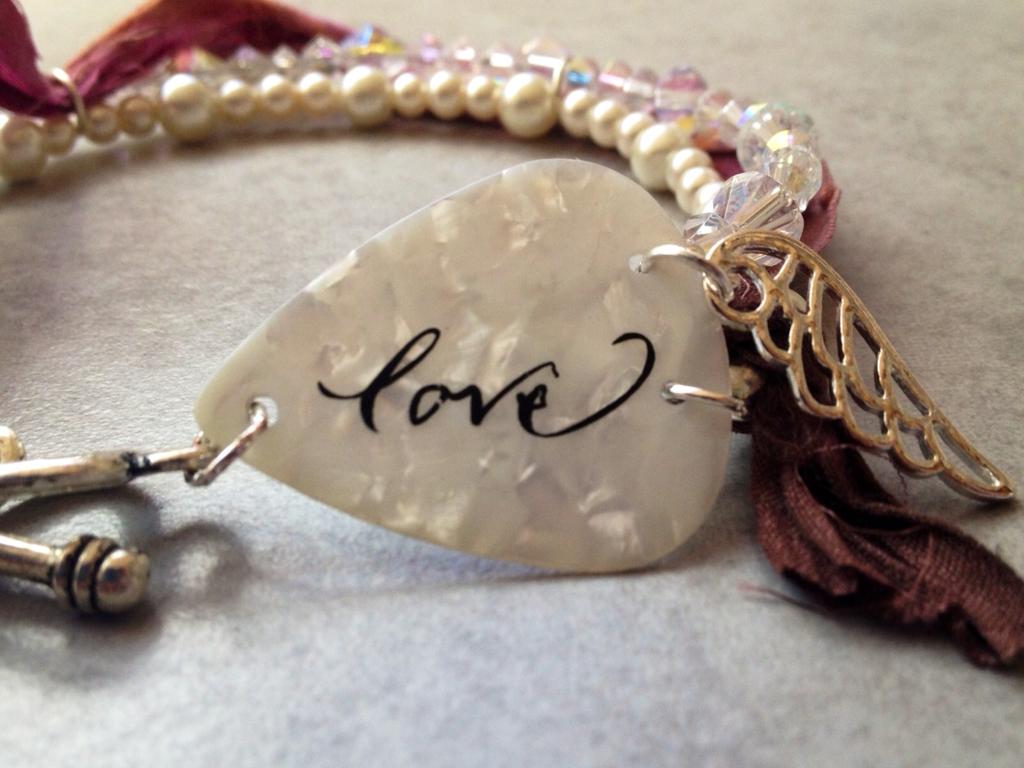 handmade jewellery, guitar pick bracelet, mixed media, Over the Moon